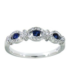 Blue Sapphire Diamond Designer Ring 14K White Gold